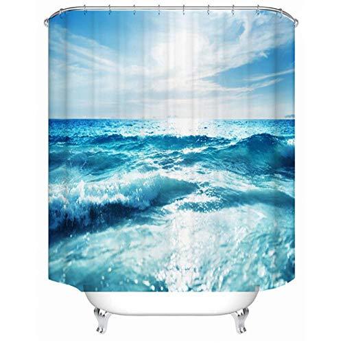 wrhua Seewelle Meerwasser Polyester Druck Wasserdicht Mehltau Badezimmer Duschvorhang Trennvorhang Hotel Familienzimmer Sonnenschutz Vorhang-60X72In/150X180Cm