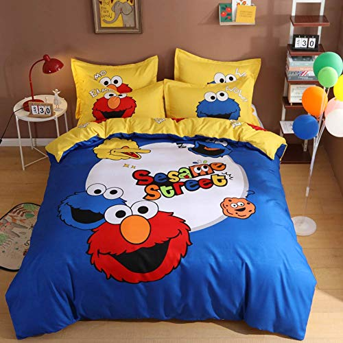 Anjos Cartoon Blue Sesame Street American Duvet Cover Set - Polyester - Duvet Cover,Flat Sheet,Pillow Cases - Hypoallergenic (Full78x90inch)