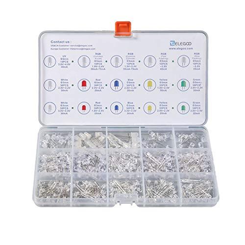 ELEGOO 3mm y 5mm Diffused y Clear Assorted LED Diodos Kit 5 Colores (Paquete de 350) para Arduino