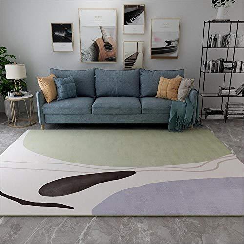 La alfombras Decoracion Dormitorio Alfombra Suave de diseño Simple Azul Caqui Negro fácil de Limpiar Alfombra Juvenil Dormitorio Alfombra Pelo Corto Salon 120*170CM