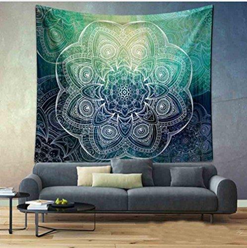 Tapiz para colgar en la pared, diseño de mandala bohemio, decoración de habitación, manta para la playa, diseño indio, poliéster, Círculo verde, 150x130cm