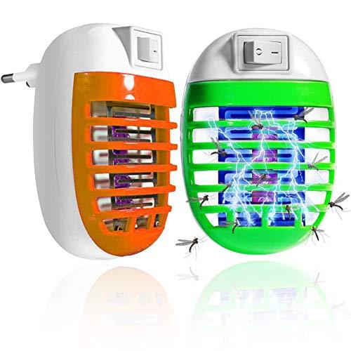 BESTZY Bug Zappers Zanzariera Elettrica, Lampada Antizanzare con Luce UV Alto-efficiente Trappola Zanzare Zanzara Killer Nontossico Elettrico Insetticida Spina EU(2PACK)