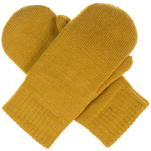 BYOS Unisex Winter Toasty Warm Solid & Glitter Fleece Lined Knit Mitten Gloves