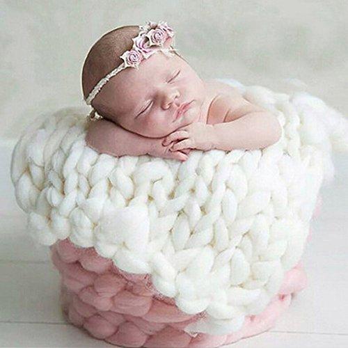 Neugeborenes Baby Wolle Geflecht Decke Stuffer Teppich Korb Fotografie Prop - Weiß, 50cm * 50cm