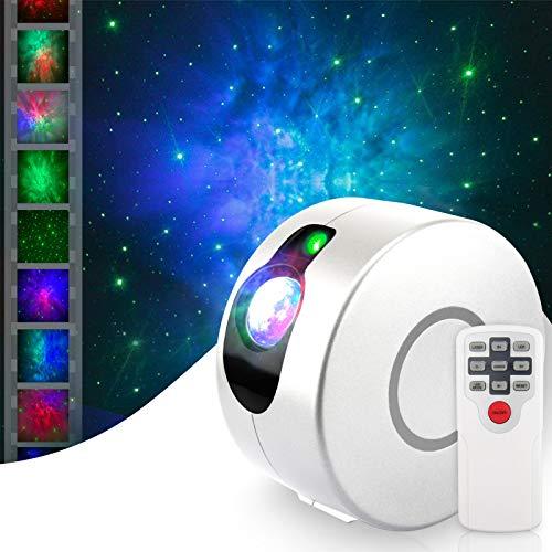 Projetor de luz noturna HugeHard com controle remoto, projetor de galáxia de céu estrelado rotativo 360, projetor de estrelas noturnas LED com 15 modos de iluminação para decoração de festa de quarto de crianças (branco)