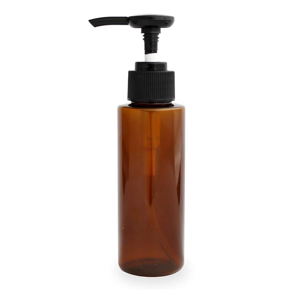 消すコーナー思想ポンプボトル100ml(ブラウン)(プラスチック容器 オイル用空瓶 プラスチック製-PET 空ボトル プッシュポンプ)