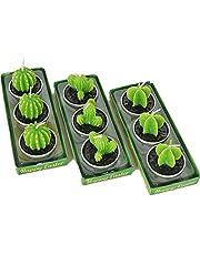 Bogoro Kaktusljus, 9 stycken ljus rökfria ljus, kaktus värmeljus ljus, grönt mini saftiga ljus, för födelsedag, jul, festival, fest, bröllop, spa, heminredning, presenter