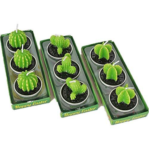 Bogoro Kaktus Kerzen, 9 Stück Kerzen Rauchfreie Kerzen, Kaktus Teelicht Kerzen, Grüne Mini Sukkulenten Kerzen, für Geburtstag, Weihnachten, Festival, Party, Hochzeit, Spa, Heimdekoration, Geschenke