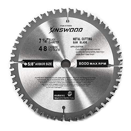 "Kinswood Circular Saw Blade Metal Cutting Saw Finish Blade Cut Thin Kerf for DeWalt, Makita, SKIL, Bosch Skil, Heavy Duty and Anti-rust Coating (7-1/4"" 5/8"" 48T)"
