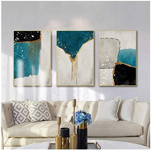 Surfilter Stampa su Tela Nordico Astratto Colore Blu spalsh e Dorato Pittura su Tela Poster e Stampa Stampa Poster Soggiorno Arredamento 15.7& rdquo; x 23.6& rdquo; (40x60 cm) Senza Cornice