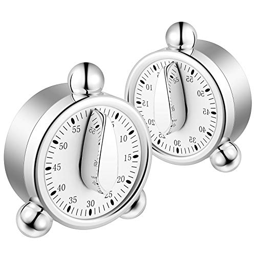 2 Pieces Kitchen Timers Countdown Timer with Loud Alarm, Back Stand for Cooking, Classroom, Bathroom, Teachers, Kids (No Batteries Required)