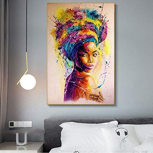 KWzEQ Graffiti-Kunstplakat der Schwarzafrikanerin mit abstraktem afrikanischen Mädchen auf Leinwand,Rahmenlose Malerei,30x45cm
