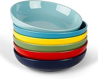 أطباق حساء للسلطة البورسلين كيتشن تور - مجموعة أطباق تقديم كبيرة سعة 736 مل - مجموعة من 6 قطع