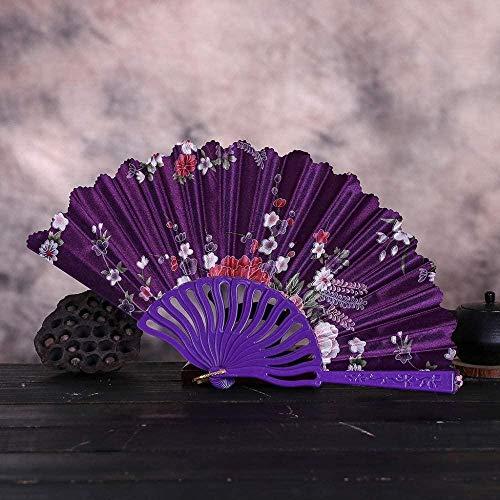 Opvouwbare ventilator,mode Vintage Kant Chinese Stijl Dans Bruiloft Handfans Feestjurk Accessoires Paars Opvouwbaar Zomer Held Flowers Fan