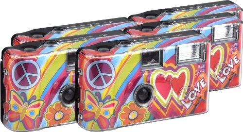 TopShot Love Cult Einwegkamera / Hochzeitskamera (27 Fotos, Blitz, 5-er Pack)