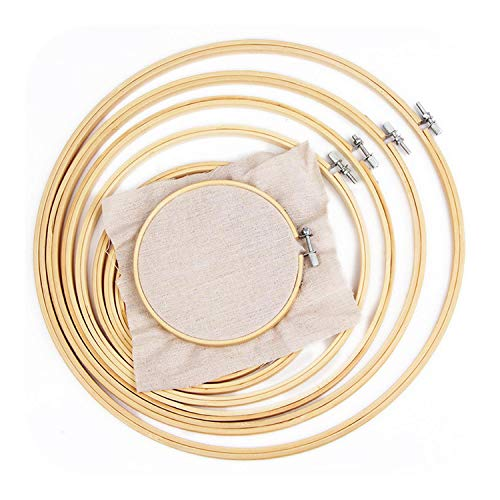 Cross Stitching Kit 1PC Embroidery Circle Shed Sewing Tambour Frame 13/18/23/30cm Embroidery Cross Stitch Embroideried Hoop Adjustable Bamboo Ring-13cm-,