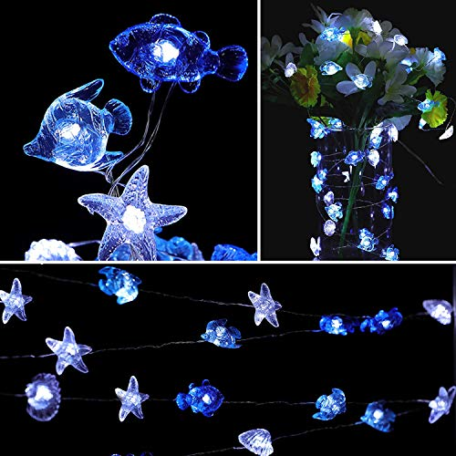 HDNICEZM Ocean Theme String Lights, Seashell Sealife Battery Operated 8 Lighting Modes Waterproof Decorative Light Strings for Bedroom Nursery Indoor Outdoor Decorations (Cold White 14.1 Ft 40 LED)