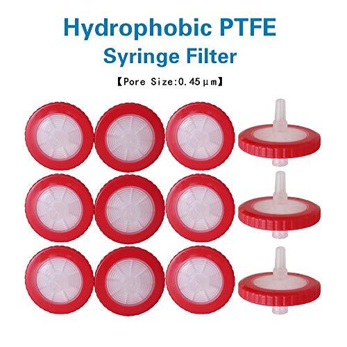 Allpure Biotechnology - Filtros de jeringa hidrofóbica de PTFE no esterilizados, diámetro de 25 mm, tamaño de poros, 0,22 μm, para filtración industrial [caja de 50 unidades], PTFE-25mm-0.45μm, Rojo