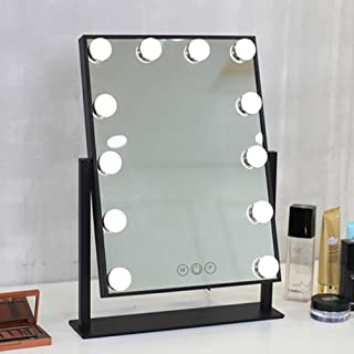 FENCHILIN Lighted Makeup Mirror Hollywood Mirror Vanity Makeup mirror with Light Smart Touch Control 3Colors Dimable Light Detachable 10X Magnification 360°rotation(Black)