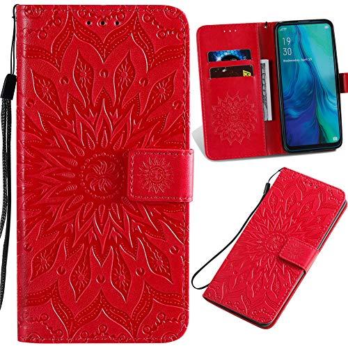 Capa carteira XYX para Galaxy A51, Samsung A51 Girassol Capa protetora de couro PU para Samsung A51 SM-A515 (Vermelho)