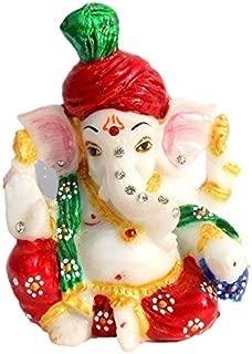 Fashion Bizz Ganesh,Ganesha,Laddu Ganesh ji,Mangal Murti,Diwali Ganesh Poojan,Deepawali Gift,Ganesh ji for Laxmi ji, Marble Statue Idol Car Decor,Home Decor,Office Decor,Gift for Diwali,Pagdi Ganesha