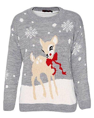 MyMixTrendz Mujeres Bambi Rudolph Niños Navidad Madre Hija Hijo Navidad Jumper Top Size 8-26 (EU 36/38, Gris)