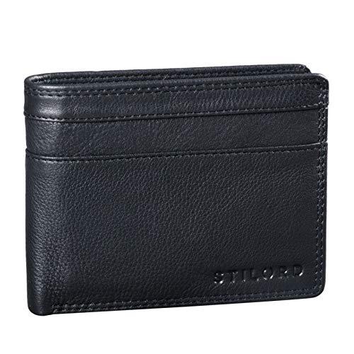 STILORD 'Cooper' Portamonedas de Cuero para Hombre RFID y NFC Bloqueo Monedero Clásico Portamonedas Billetera Portatarjetas de Piel Genuino, Color:Negro