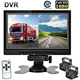 HD Dual Backup Camera System 7 Inch HD 1080P Split Screen with DVR Recording, Waterproof...