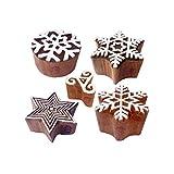 Royal Kraft Atractivo Forma Estrella y Copo Nieve Madera Sellos para Imprenta (Set de 5)
