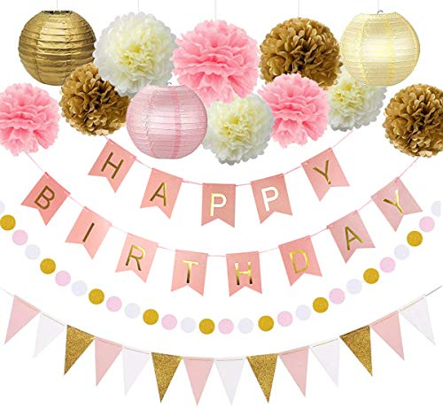Pink and Gold Birthday Party Decorations Decor Supplies First 1st Birthday Girl Decors Decorations Kit Pom Pom Lanterns Polka Dot Triangle Garland Banner Party Supplies Backdrop