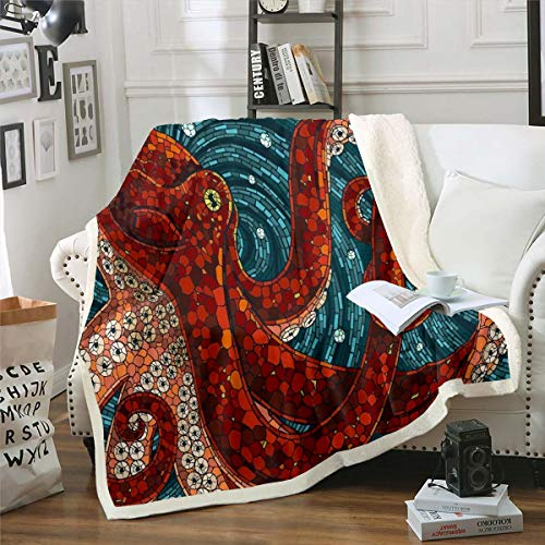 Octopus Fleece Throw Blanket Queen 90'x90' for Bed Sofa Couch 3D Print Sea Animal Sherpa Blanket Red Blue Decorative Ocean Kraken Plush Blanket Marine Life Tentacles Fuzzy Blanket