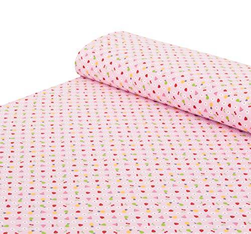 Nadeltraum Baumwoll - Jersey Stoff Früchte rosa - Meterware ab 25 cm x 150 cm - Stoff zum Nähen