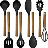 Silicone Cooking Utensil Set, Umite Chef 8-Piece Kitchen Utensils Set with Natural Acacia Wooden Handles,Food-Grade Silicone Heads-Silicone Kitchen Gadgets Set for Nonstick Cookware- Black