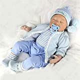 LCJD Reborn Baby Doll 22 Pouces 55cm l Silicone Sleeping Newborn Babies Boy Girl Eyes Closed Real Looking Lifelike Reborn Baby Handmade Doll Free Magnet Sucette Toys Gifts (Blue Boy)