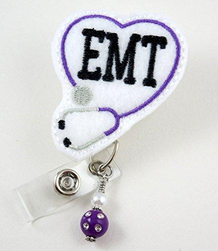 EMT Heart Stethoscope Purple -Nurse Badge Reel - Retractable ID Badge Holder - Nurse Badge - Badge Clip - Badge Reels - Pediatric - RN - Name Badge Holder