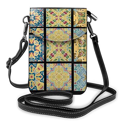 Kleine Handtasche mit Keramikfliesen für marokkanische Vintage-Weine, für Handy, Handtasche aus PU-Leder mit verstellbarem Riemen für den täglichen Gebrauch