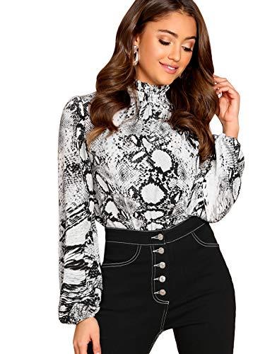Floerns Women's Women's Floral Print High Neck Puff Long Sleeve Chiffon Blouse Multi-1 L