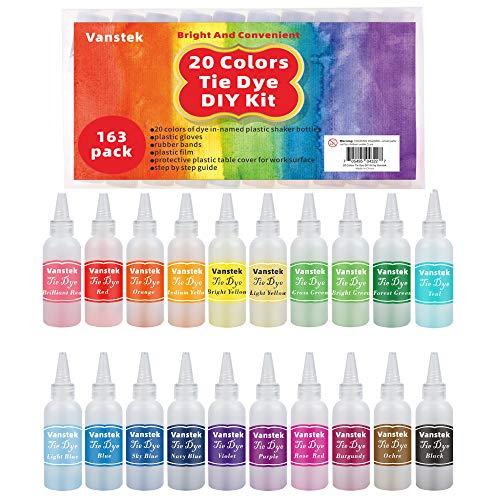 Vanstek Tie Dye DIY Kit, 20 Colors Tie Fabric Dye for Women, Kids, Men Gift,...