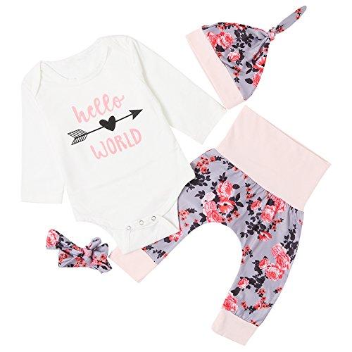 chicolife Baby Mädchen Blumen Outfit Set Buchstaben gedruckt Hello World Langarm Pfeil Strampler mit Blume Stirnband Hut 4Pcs,0-6Month