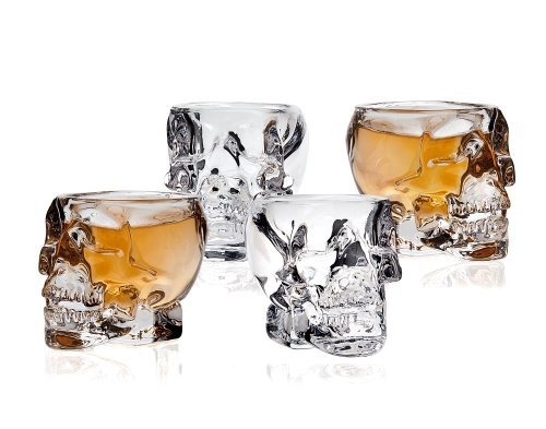 STUDIO SILVERSMITHS Skull Head 3D Clear Crystal 2 Oz. Shot Glasses, Set of 4