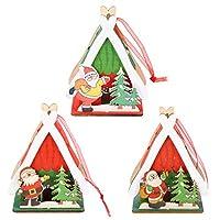 PIXNOR 3Pcsクリスマス木製の装飾品は、ライトアップウッドハウスクリスマスツリーの装飾ぶら下げ装飾diyクリスマスホリデーパーティーの装飾のための贈り物を導きました