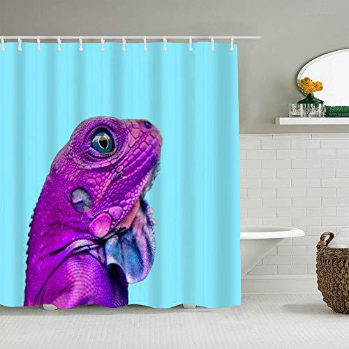 QINCO Duschvorhang,Lustige Eidechse Minimal Zoo Farben Tropical Close Up Kopf Leguan,personalisierte Deko Badezimmer Vorhang,mit Haken,180 * 210