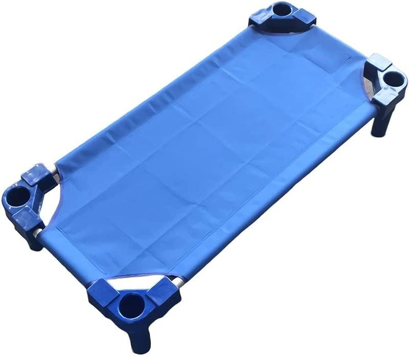 Quanqiugou Travel Cot Aluminum Alloy Baby Kids Children Frame Bed Crib Streamline Toddler Cot Daycare Sleeping Cot For Kids Kindergarten Bed Color Blue