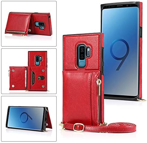 ELKeyko for Samsung Galaxy S9 Case, Zipper Wallet Case with Credit Card Holder/Crossbody Long Lanyard, Shockproof Leather TPU Case Cover for Samsung Galaxy S9 Phone Wallet (Color : Red)