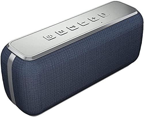 Altavoz Bluetooth inalámbrico de 50 W, subwoofer de alto rendimiento al aire libre, resistente al agua, ordenador portátil, batería de larga duración, color azul