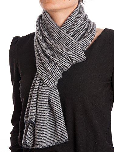 DALLE PIANE CASHMERE - Gestreifter Schal aus 100prozent Kaschmir - für Mann/Frau, Farbe: Schwarz, Einheitsgröße