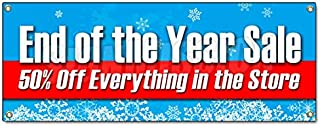 END of The Year Sale 50% Off Everything Banner Sign