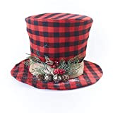 The Lakeside Collection Plaid Top Hat Christmas Tree Topper Ornament - Indoor Holiday Tree Accent
