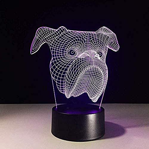 Nouveauté Cadeau 3D Led Bébé Dormir Veilleuse Usb Tête De Chien Lampe De Table 7 Couleurs Champ De Vue Changement Bulldog Lumières Décorations Pour La Maison
