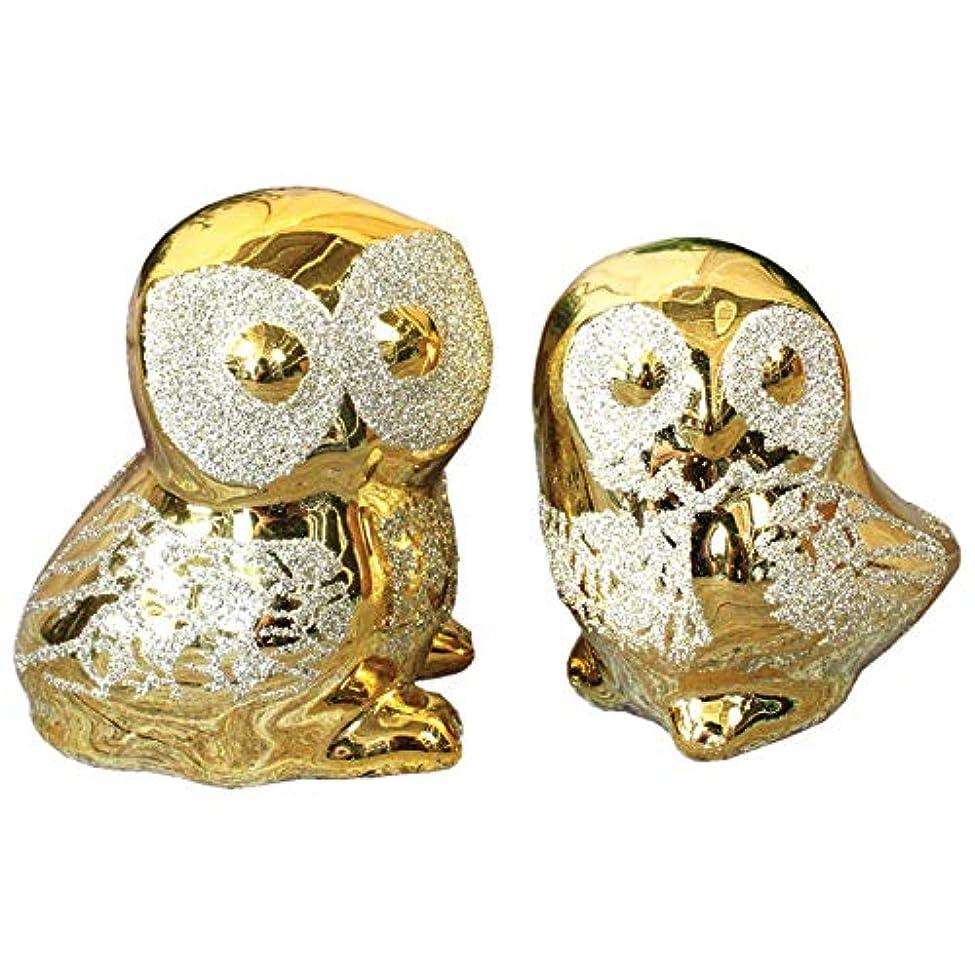 便利さ苦監督する陶器 縁起物 金色の夫婦ふくろうの置物 【H-118SS】